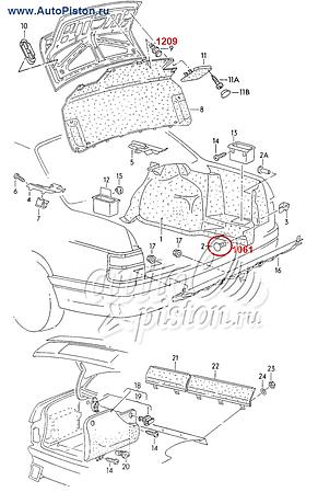 Кліпса кріплення обробки багажного відсіку на Volkswagen, фото 2