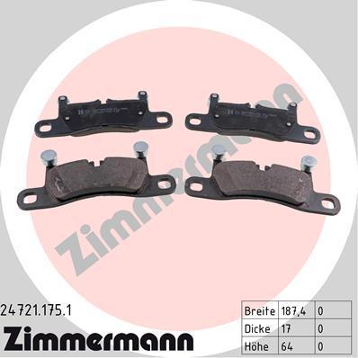 Комплект тормозных колодок, дисковый тормоз ZIMMERMANN 247211751 на PORSCHE CAYENNE