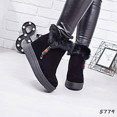 """Ботинки, ботильоны черные ЗИМА на танкетке """"Itan"""" эко замша, повседневная, зимняя, теплая, женская обувь, фото 3"""