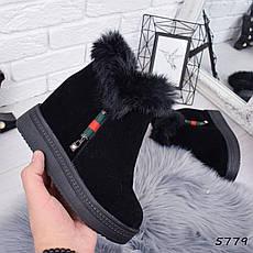 """Ботинки, ботильоны черные ЗИМА на танкетке """"Itan"""" эко замша, повседневная, зимняя, теплая, женская обувь, фото 2"""