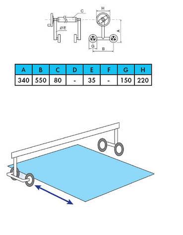 🔥✅Ролета навивочная передвижная двухсторонняя 3,7 - 5,4 м Vagner Pool. Наматывающее устройство, фото 2