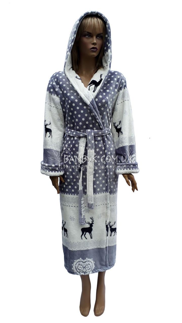 Теплий плюшевий халат з капюшоном Polar №201803