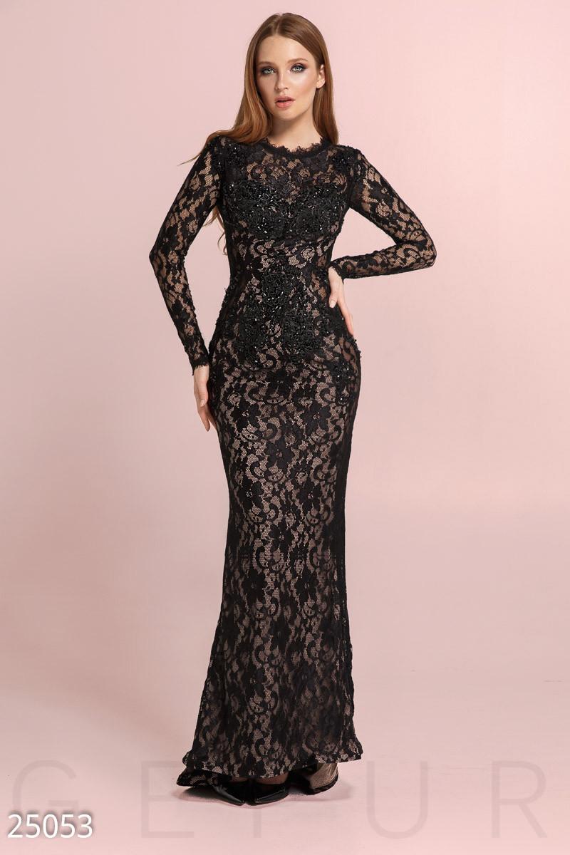 Богатое гипюровое платье годе черного цвета