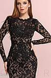Богатое гипюровое платье годе черного цвета, фото 4