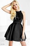 Черное монохромное платье А-силуэта, фото 2