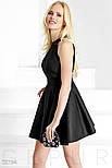 Черное монохромное платье А-силуэта, фото 3