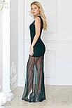 Смелое платье с глубоким вырезом изумрудного цвета, фото 2