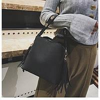 Новинка 2019 года! Стильная черная сумка для девушек и женщин, c помпоном кисточка.