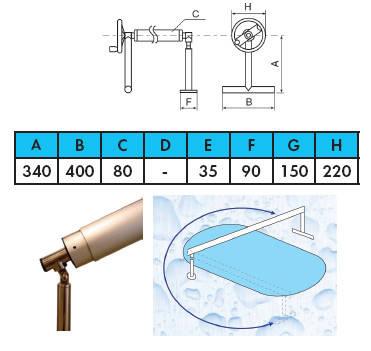 Ролета навивочная с шарниром 5,4-7,1 м Vagner Pool. Наматывающее устройство, фото 2