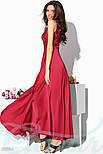 Атласное красное платье макси с гипюровым верхом, фото 2