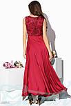 Атласное красное платье макси с гипюровым верхом, фото 3