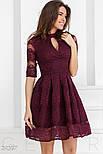 Гипюровое праздничное платье бордового цвета с декольте на запах, фото 2