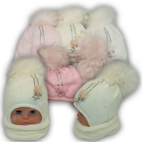 ОПТ Шапка c помпоном и шарф хомут для девочки, р. 44-46 (5шт/набор)