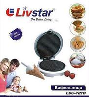 Прибор для приготовления тонких вафель lsu-1218, с терморегулятором, конус для формировки рожков, вафельница