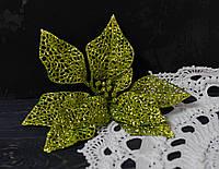 Головка пуансетии макси оливковой ажур К2499, фото 1
