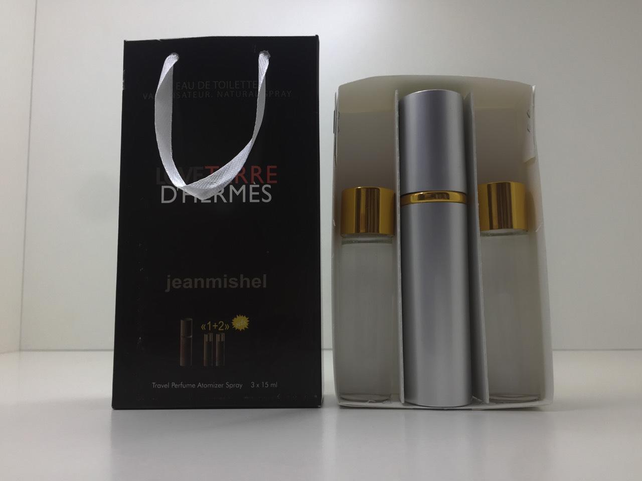 Подарунковий набір парфумів Jeanmishel Terre d'hermes (Жанмишель Терре Гермес) 3 по 15 мл
