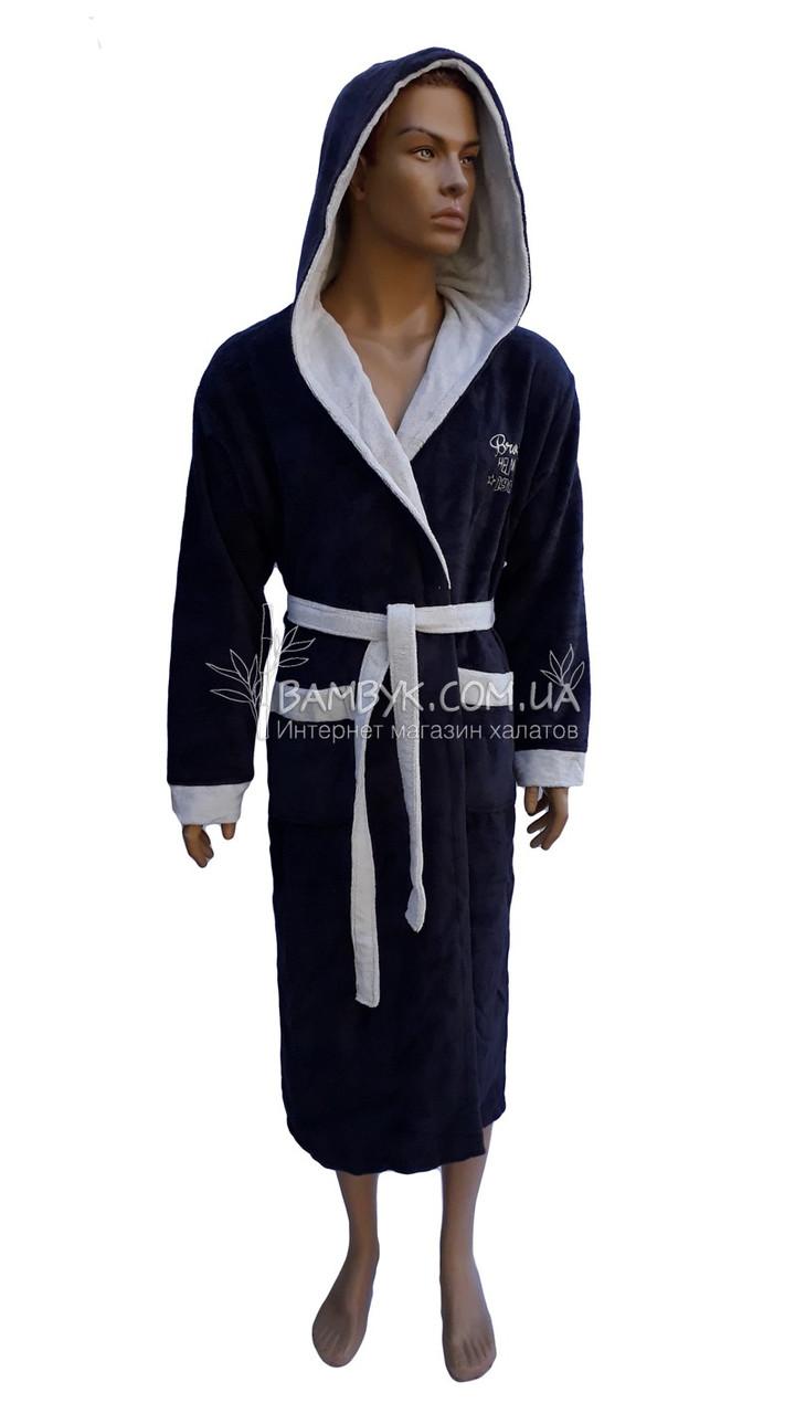 9cdd76a7e9d1e Мужской халат Bellezza By Ebru бамбуковый темно-синего цвета №2025, ...
