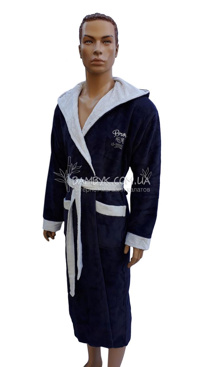 5f72cecbf2a90 ... Мужской халат Bellezza By Ebru бамбуковый темно-синего цвета №2025, ...
