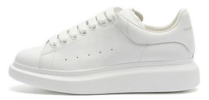 Женские кроссовки Alexander McQueen Leather 'All White' (Александр Маккуин) белые