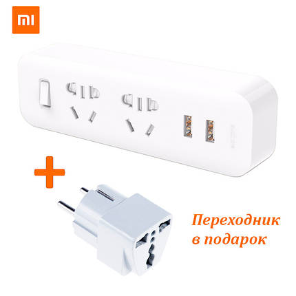Разветвитель Xiaomi (MiJia) Power Strip (2 розетки + 2 USB) MJEWZHQ-01QM (Белый), фото 2