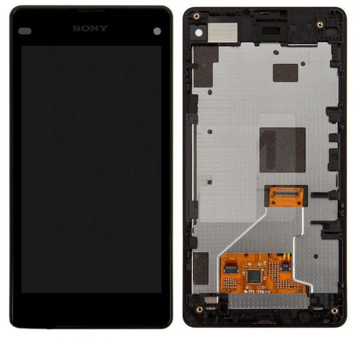 Дисплей (LCD) Sony D5503 Xperia Z1 Compact Mini с тачскрином и рамкой чёрный orig