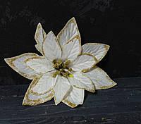 Головка пуансетии атлас белого цвета, фото 1