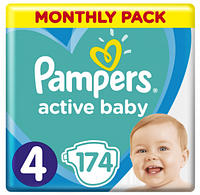 Подгузники Pampers Active Baby 4 (9-14кг) Monthly Pack 174 шт.