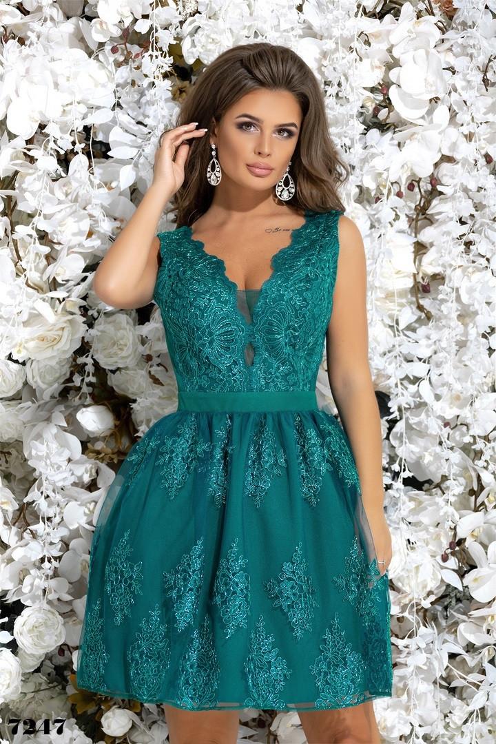 Платье вечернее без рукав гипюр+габардин 42,44,46