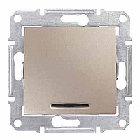 Выключатель одноклавишный проходной с подсветкой Титан Schneider Sedna (sdn1500168), фото 1