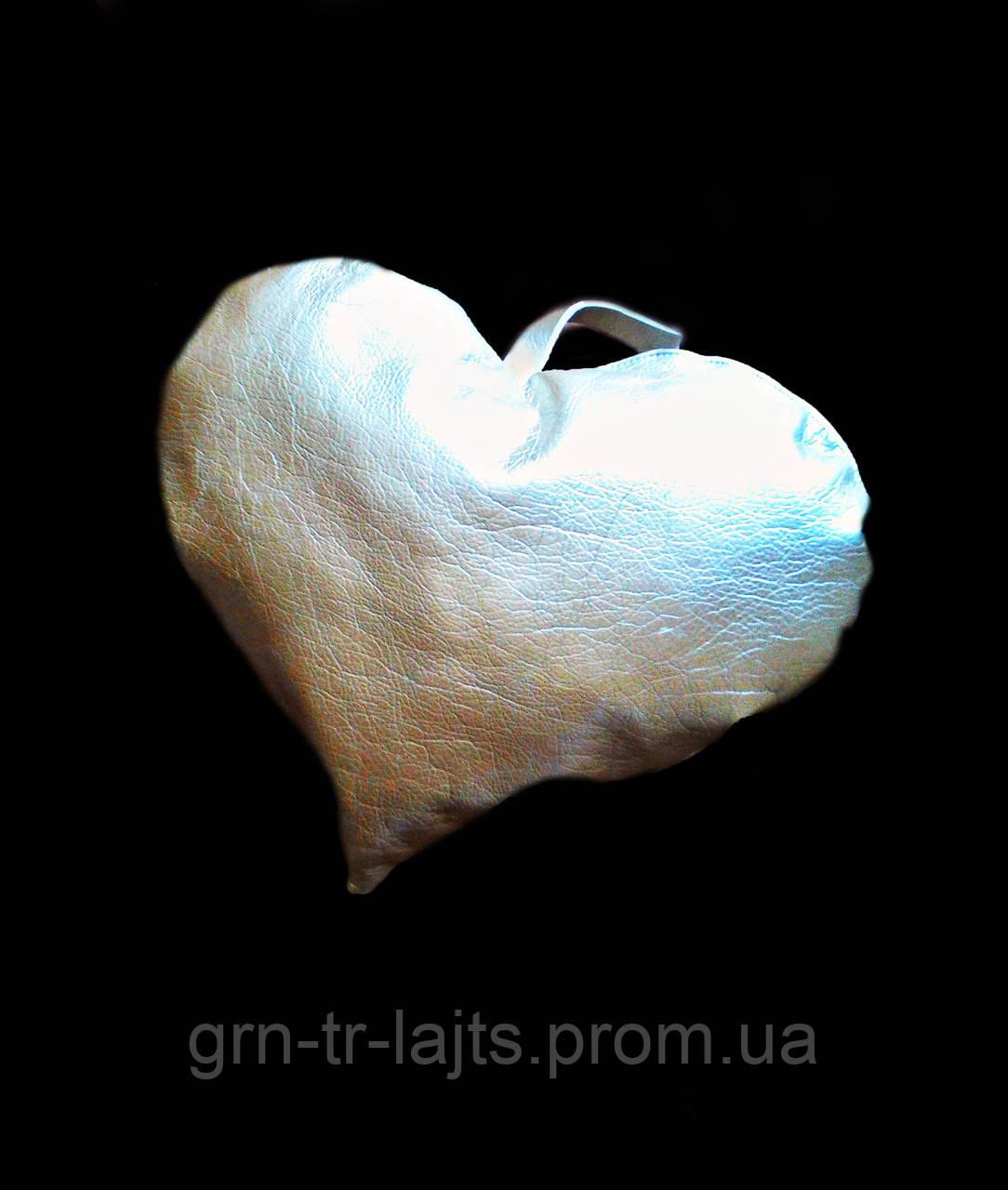 Игрушка на елку большая Сердце Серебрянное Ялинка України Искусственная кожа