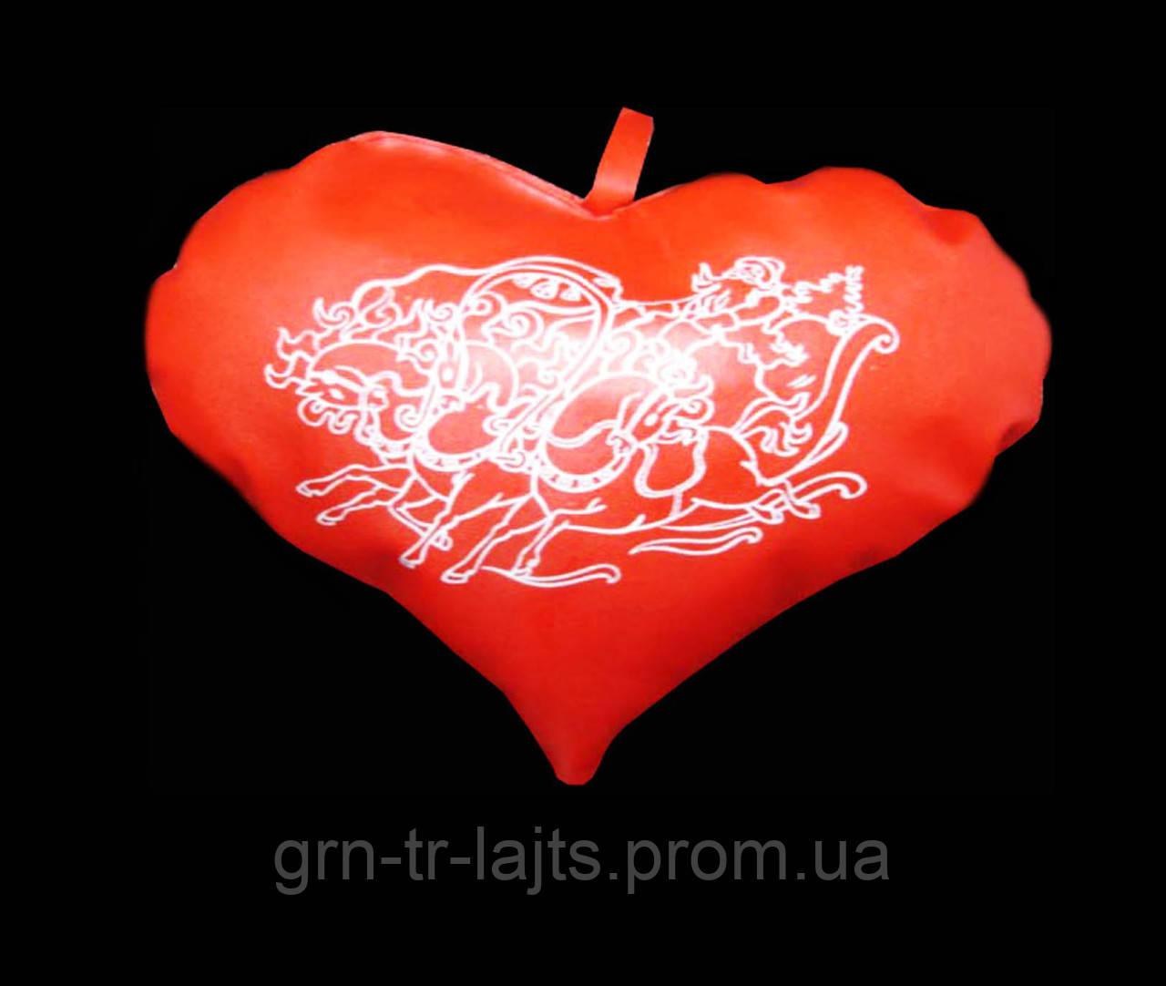 Игрушка на елку большая Сердце Красное Ялинка України Искусственная кожа