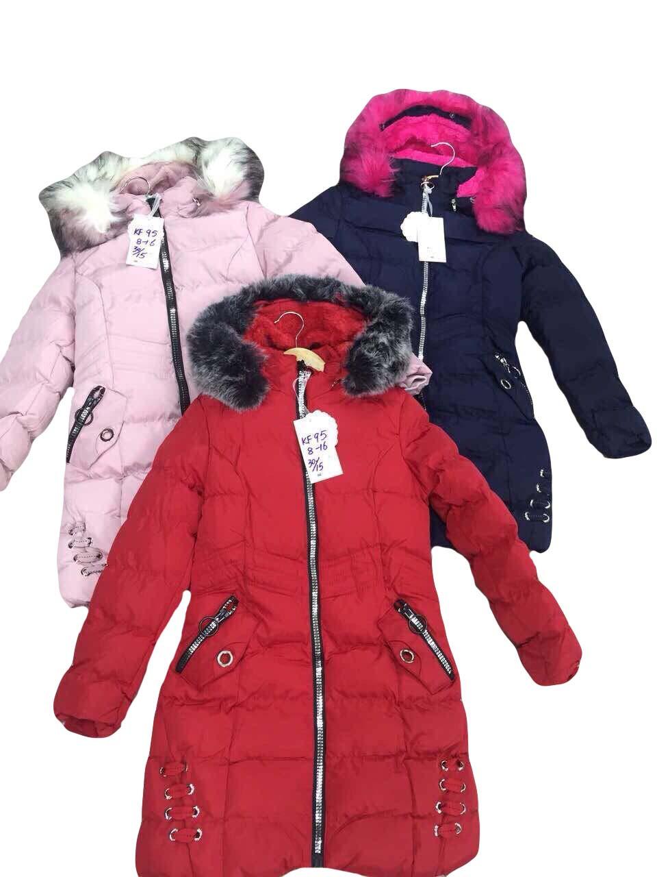 Куртки  на меху для девочек оптом размеры 8-16 лет, S&D арт. KF 95
