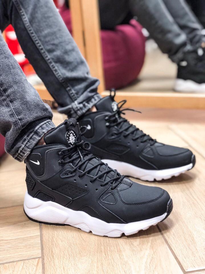 3c8e6407 Зимние мужские кроссовки в стиле Nike Air Huarache, натур. мех, нубук