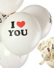 """Воздушный шарик """"I LOVE YOU"""" белый/ ПОШТУЧНО"""