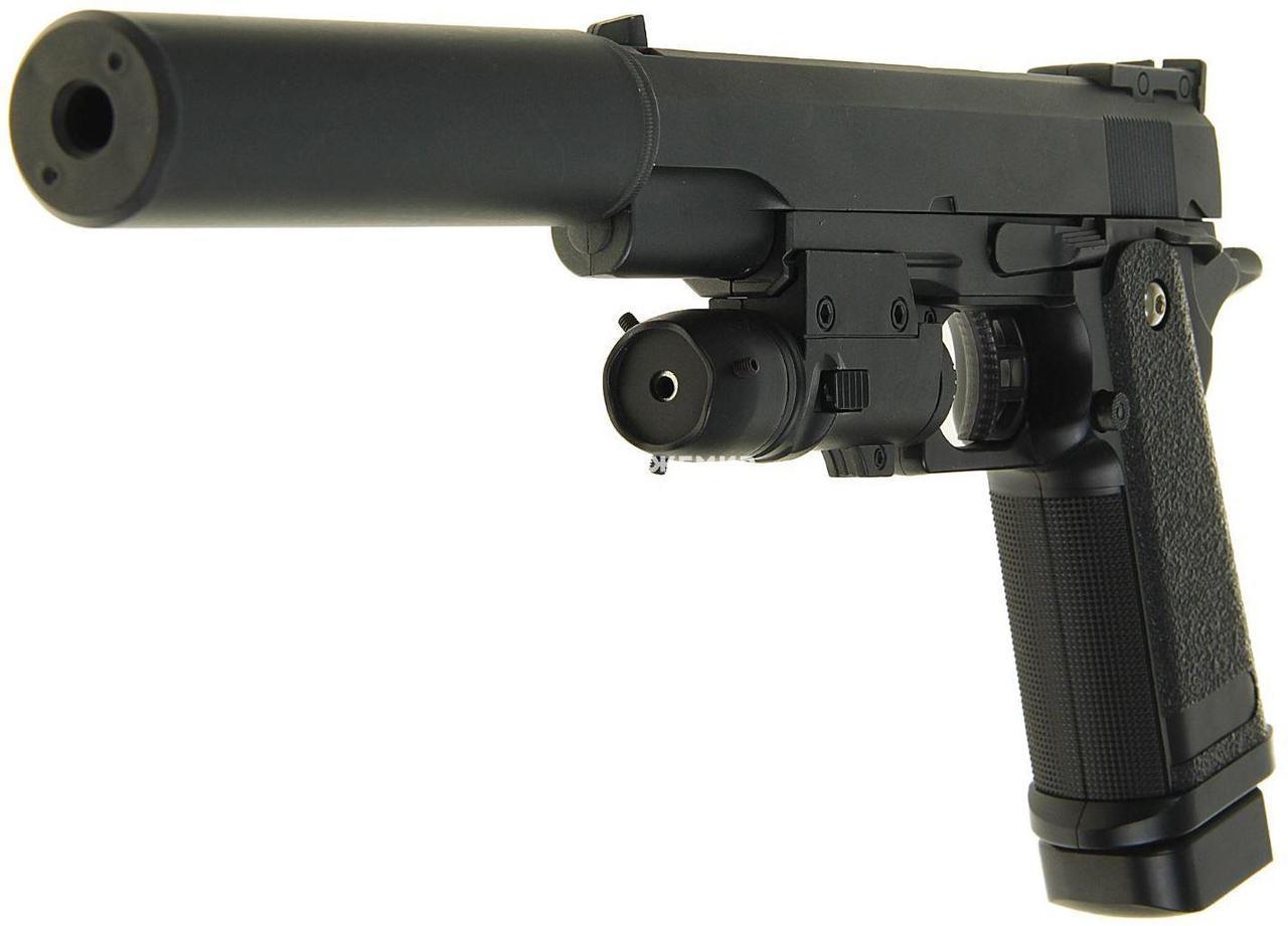 Детский металлический пистолет Galaxy G6A (Colt M1911), страйкбольный Кольт с глушителем, пистолеты на пульках
