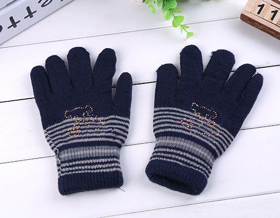 Перчатки полосатые двойные детские темно-синие