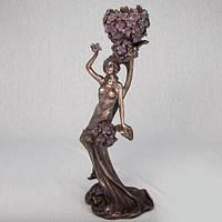 Бронзовый подсвечник Леди в цветах (38 см)