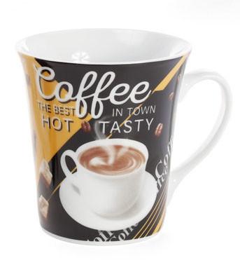 Кружка фарфоровая 375мл Coffee, 4 вида (334-417)