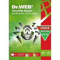 Антивирус Dr. Web Security Space, 2 ПК 1 год карт. конверт (KHW-B-12M-2-A3)