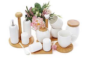 Сахарница 400мл с ложкой с двумя чашками 250мл на подставке Naturel цветы (289-279), фото 2