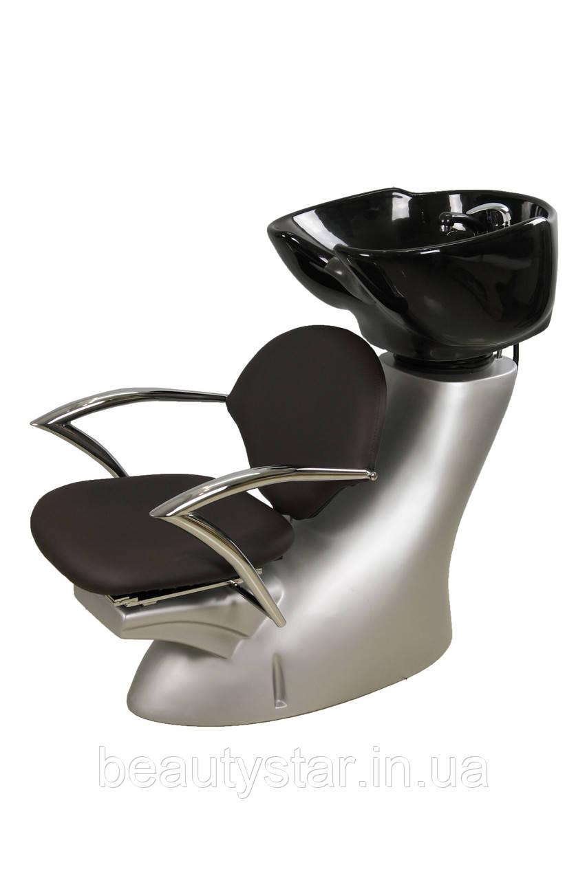Кресло-мойка парикмахерская для салона красоты керамическая раковина глубокая белая/черная  ZD-2201В/А