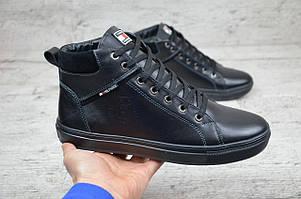 Tommy Hilfiger  ботинки мужские черные (Реплика)