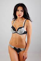 Комплект женского нижнего белья Lora Iris 6414 черный белый горошек
