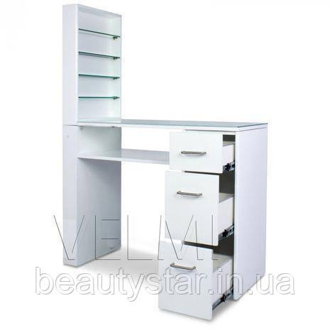 Стол маникюрный однотумбовый с надстройкой полкой под лаки для маникюра стол с выдвижными ящиками VM123