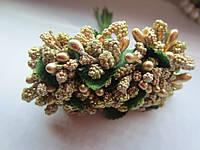 Тычинки крупные, додатки к цветам золотистые с блёстками, букетик из 11 соцветий, длина, фото 1