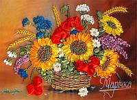 "Набор для вышивки лентами ""Корзина летних цветов"""