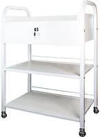 Косметологическая тележка - столик маннипуляционный передвижной на 2 полки, с ящиком, ДСП мод. BS-010