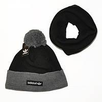 Мужской комплект набор вязаная шапка с бубоном и хомут шарф Adidas черный трендовый молодежный теплый реплика