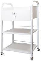 Столик - Тележка косметологическая  BS-008 на 3 полки, с ящиком, ДСП, белая