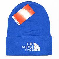 Трендовая мужская вязаная шапка The North Face синяя шерстяная красивая теплая модная шапочка реплика
